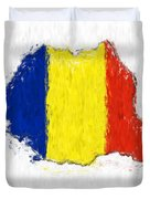 Romania Painted Flag Map Duvet Cover