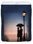 Romantic Couple Under A Street Lamp At Sunset Duvet Cover