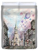 Romantic Montreal Canada - Watercolor Pencil Duvet Cover