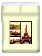 Romantic Paris Sunset Collage Duvet Cover