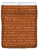 Rome In Words Toffee Duvet Cover
