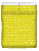Rome In Words Yellow Duvet Cover