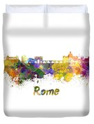 Rome Skyline In Watercolor Duvet Cover