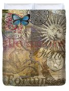 Rome Vintage Italy Travel Collage  Duvet Cover