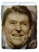 Ronald Reagan Portrait Duvet Cover by Corporate Art Task Force