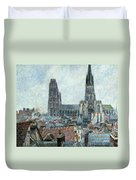 Roofs Of Old Rouen Grey Weather  Duvet Cover