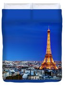Rooftop View On The Eiffel Tower Duvet Cover