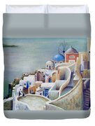 Rooftops And Terraces Of Santorini Island In Greece Duvet Cover
