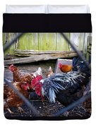 Rooster And Chickens Duvet Cover