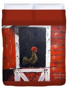 Rooster In Window Duvet Cover