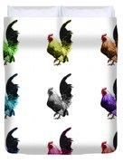 Rooster Pop Art- 4602 - Wb - M - Modern Animal Art Duvet Cover