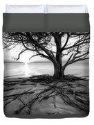 Roots Beach In Black And White Duvet Cover