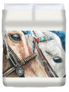 Roping Horses Duvet Cover by Nadi Spencer