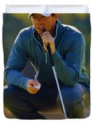 Rory Mcilroy  Lines Up A Birdie Putt  Duvet Cover