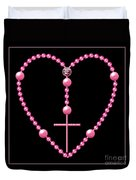 Rosary With Pink And Purple Beads Duvet Cover