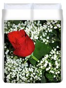 Rose And Baby's Breath Duvet Cover