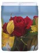 Rose And Peruvian Lilies Duvet Cover
