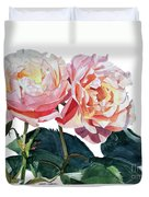Pink And Yellow Rose Anne Duvet Cover