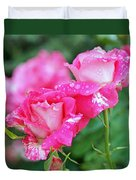 Rose Bonbons Duvet Cover by Rona Black