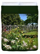 Rose Garden And Trellis Duvet Cover