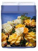 Rose Garden Art Prints Yellow Orange Rose Flowers Duvet Cover