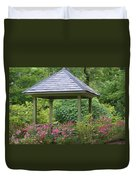 Rose Garden Gazebo Duvet Cover