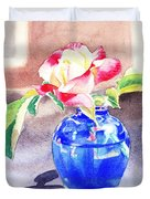 Rose In The Blue Vase  Duvet Cover