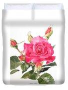 Watercolor Red Rose Margaret Duvet Cover