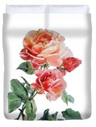 Watercolor Of Red Roses On A Stem I Call Rose Maurice Corens Duvet Cover