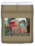 Roseate Spoonbill Feeding Young At Nest Duvet Cover