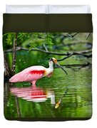 Roseate Spoonbill Wading Duvet Cover
