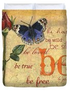 Roses And Butterflies 1 Duvet Cover
