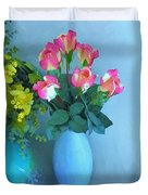 Roses And Flowers In A Vase Duvet Cover