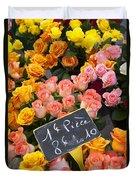 Roses At Flower Market Duvet Cover