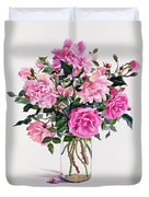 Roses In A Glass Jar  Duvet Cover by Christopher Ryland