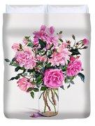 Roses In A Glass Jar  Duvet Cover