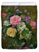 Roses In A Glass Vase Duvet Cover by Albert Williams
