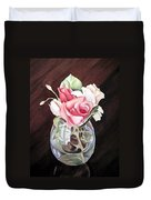 Roses In The Glass Vase Duvet Cover