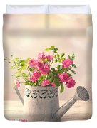 Roses In Watering Can Duvet Cover