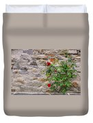 Roses On A Stone Wall Duvet Cover