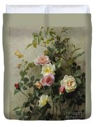 Roses On A Wall Duvet Cover