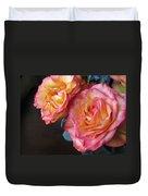 Roses On Dark Background Duvet Cover