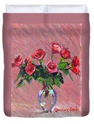 Roses On Pink Duvet Cover
