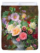 Roses Pansies And Other Flowers In A Vase Duvet Cover by Albert Williams