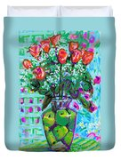 Roses With Apples Duvet Cover