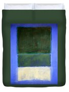 Rothko's No. 14 -- White And Greens In Blue Duvet Cover