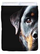 Rottie Love - Rottweiler Art By Sharon Cummings Duvet Cover