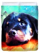 Rottie Puppy By Sharon Cummings Duvet Cover