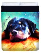Rottie Puppy By Sharon Cummings Duvet Cover by Sharon Cummings