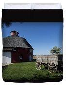 Round Barn Wooden Wagon Duvet Cover